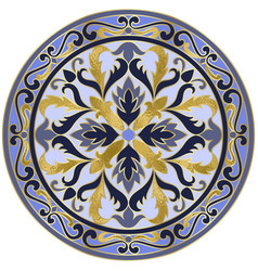mosaic classic floral medallion with gold vector image