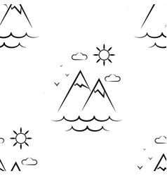 mountains sun clouds pattern seamless vector image