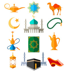 Muslim arabic colorful icons vector