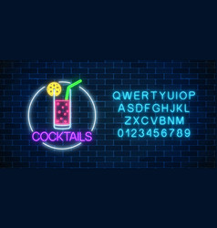 Neon cocktail glass sign in circle frame and vector