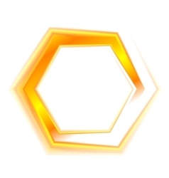 Orange hexagon emblem logo for web design vector