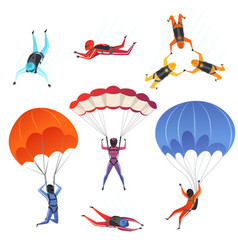 Parachute jumpers extreme sport skydiving vector