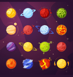 planets in outer space cartoon vector image