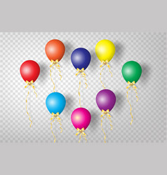 realistic colorful balloons with ribbon party vector image