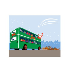 Santa Claus Double Decker Bus vector