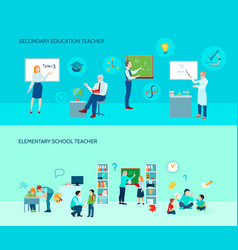 school teacher flat banners set vector image