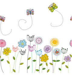 seamless funny floral border with flowers and vector image