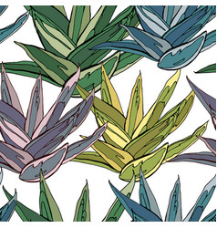 Seamless pattern with traditional homeplant agave vector