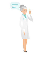 Senior caucasian doctor with speech bubble vector