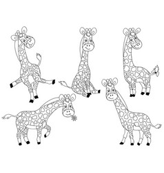 set cute cartoon giraffes vector image