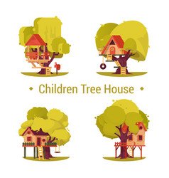 set of isolated houses for children on trees vector image