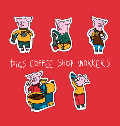 set of patches fun animal with coffee vector image