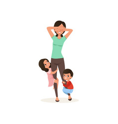 smiling kids want to play with their tired mother vector image