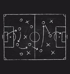 Soccer game tactical scheme with football players vector
