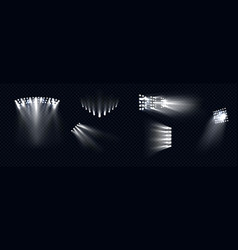 spotlights stage light white beams lamps rays set vector image