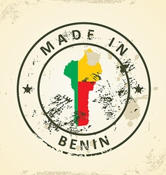 Stamp with map flag of Benin vector image
