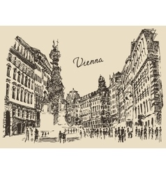 Streets in Vienna Austria hand drawn vector