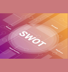 swot words isometric 3d word text concept with vector image