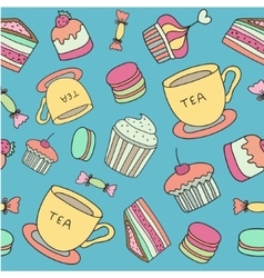 Tea time seamless pattern with hand drawn doodle vector image