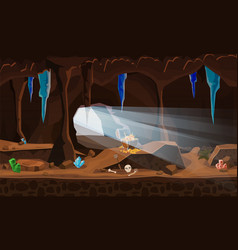 Treasure cave with chest gold coins gems vector