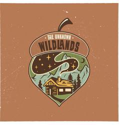 Vintage camping badge acorn design vector