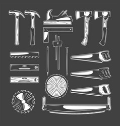 vintage carpentry elements vector image