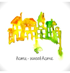 Watercolor beautiful homes vector