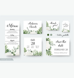 Wedding cards floral design rsvp menu cards set vector