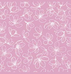 White blossom line flowers on pink background vector