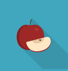 whole and slice red apples icon in flat long vector image