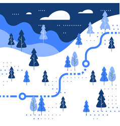 Winter skiing slope map snow forest trail walking vector