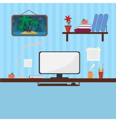 Workplace in style flat vector image