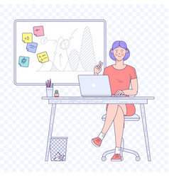 young woman working in office vector image