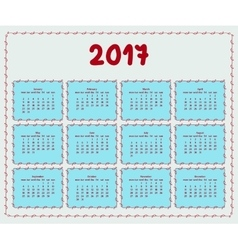 2017 year calendar template vector