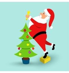 Cartoon Santa Claus and green Christmas tree vector image vector image