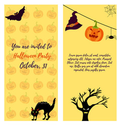 halloween invitation card with cat ghost house vector image