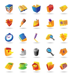 Realistic icons set for office themes vector image