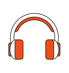 color silhouette cartoon headphones with vector image vector image