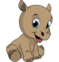 Cute little rhino vector image vector image