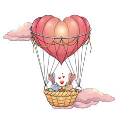 rabbits in love on a balloon vector image vector image