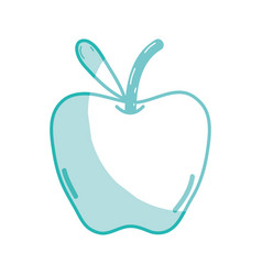 Silhouette delicious apple fruit with leaf vector