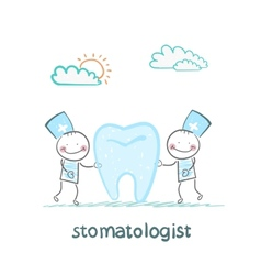stomatologist examining patient tooth vector image vector image