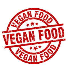 vegan food round red grunge stamp vector image vector image