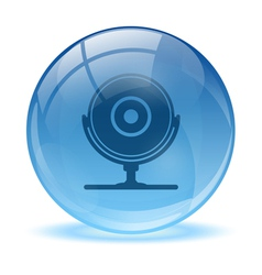 Blue abstract 3d web cam icon vector image