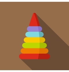 Colorful toy pyramid icon flat style vector image vector image