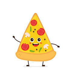 cute smiling funny cute pizza slice vector image