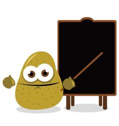 funny potato and a blackboard vector image vector image