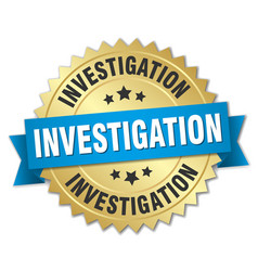 Investigation round isolated gold badge vector