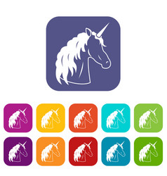 unicorn icons set vector image