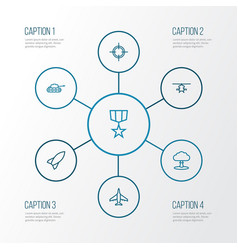 Battle outline icons set collection of military vector